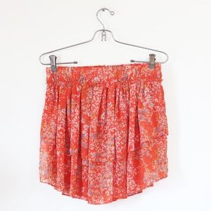 Zara Orange Floral Mini Skirt S